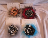 Ju Ju Be Sangria Sunset, Evening Vines, Lotus Lullaby and Midnight Eclipse Fabric Flower Hair Clip with Feather Puff