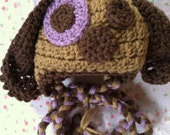 Ready To Ship Newborn 0 to 3 Month Puppy Dog Hat with Purple Spot Hat with Ties