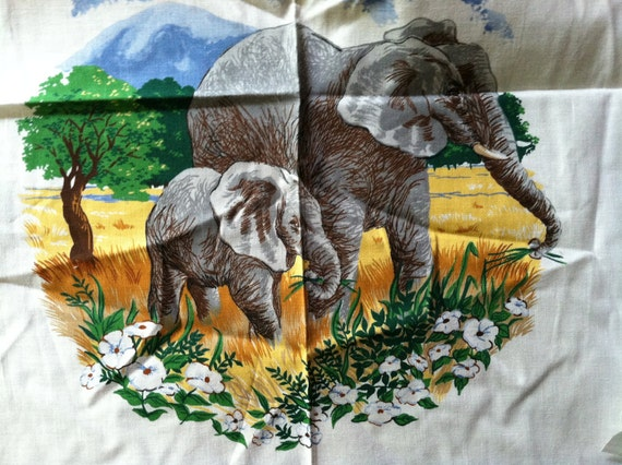Vintage Fabric Safari Animal Jungle Cut-Out - Each Measures 12 x 12 inch, You Receive All 5