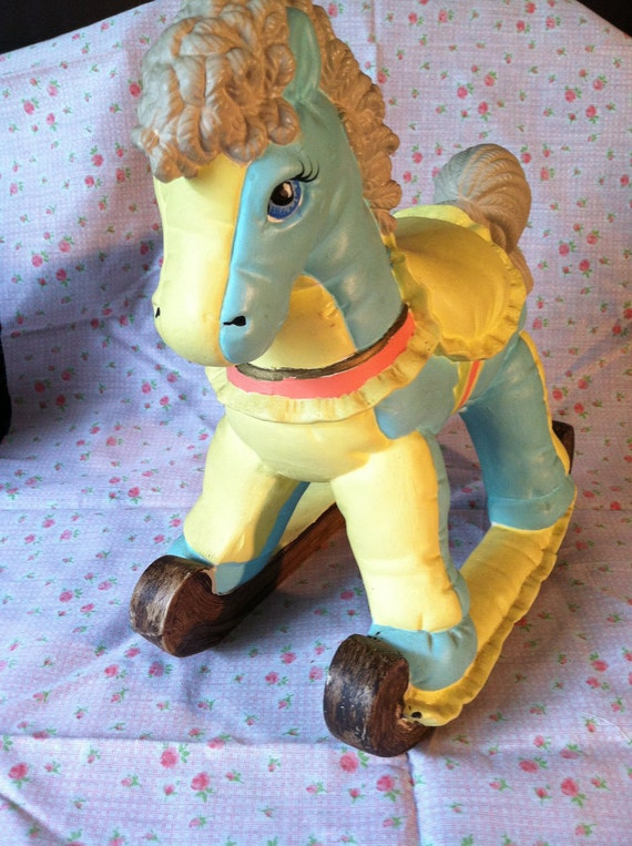 "Vintage Baby Boutique 1988 Rocking Horse Nursery Decor Mint Blue/Yellow with ""Yarn"" Sculpted Mane & Tail, Blue-eyed Pony"