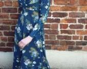 Vintage 70s maxi dress floral UK 12 US 8 blue green
