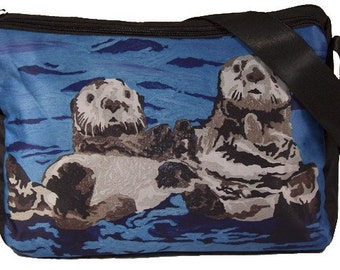 Sea Otters Large Messenger Bag by Salvador Kitti - Support Wildlife Conservation, Read How