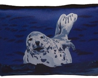 Harbor Seal  Cosmetic Bag by Salvador Kitti