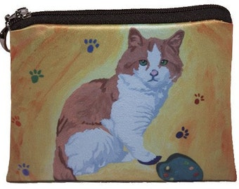 Cat  Change Purse - Salvador Kitti, Yes, Salvador Does Really Paint - From My Original Oil Painting, Paw in the Paint