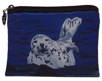 Seal Change Purse, Harbor Seal Coin Purse - From my Original Oil Painting, Playful Pup -  Salvador Kitti