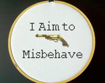 I Aim to Misbehave Firefly Cross Stitch Pattern - Mal Reynolds