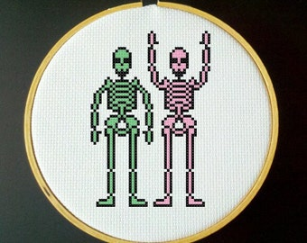 Skeleton Cross Stitch PDF Pattern - Green, Pink and Black