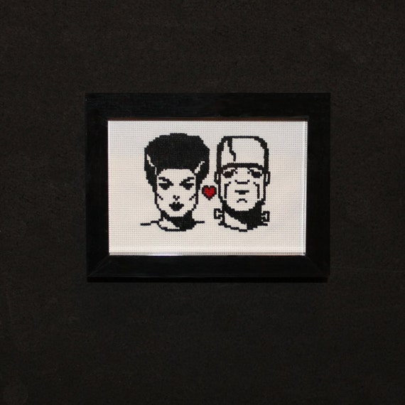 Frankenstein and Bride Completed and Framed Cross Stitch