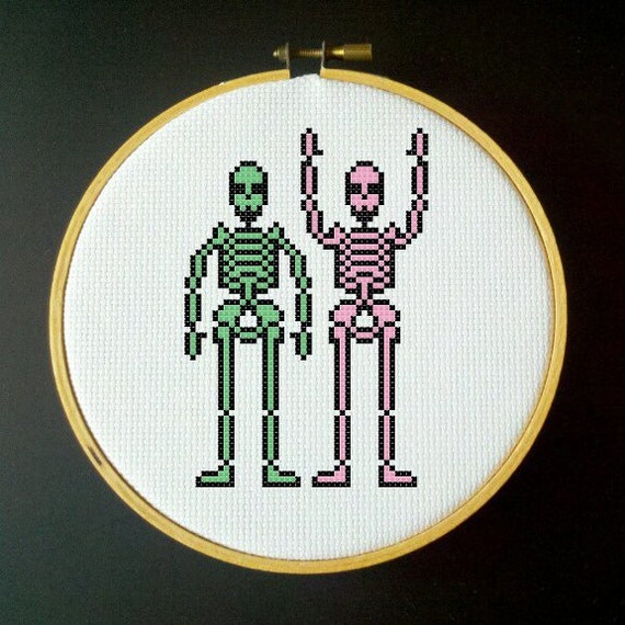 Skeleton Cross Stitch PDF Pattern - Green, Pink and Black