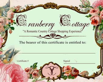 Twenty Dollar Cranberry Cottage Gift Certificate