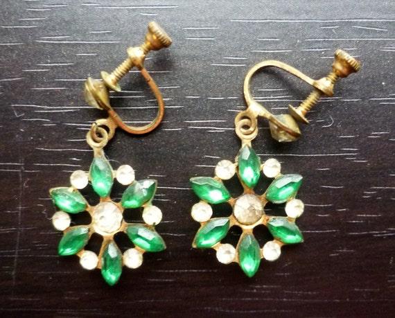 Vintage 50s Rhinestone Flower Earrings