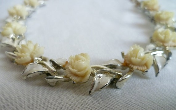 Vintage White/Cream Celluloid Roses and Enamel Leaves Choker Necklace