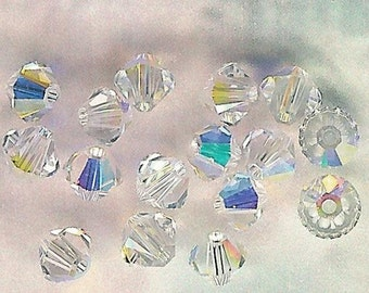 4mm Crystal AB Austrian Swarovski Crystals-16 piece pack