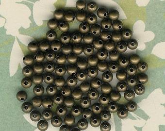 3mm Round Antique Brass Beads- 144 pieces, 3mm Brass Round Bead, 3mm Metal Antique Bead, Antique Brass Small Round Bead, Antique Brass Bead