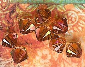 6mm Crystal Copper Austrian Swarovski Crystals-8 piece pack