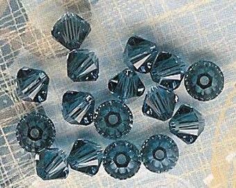 4mm Denim Blue Austrian Swarovski Crystals-16 piece pack