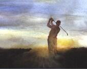 Final Hole dramatic sunset golfer art print
