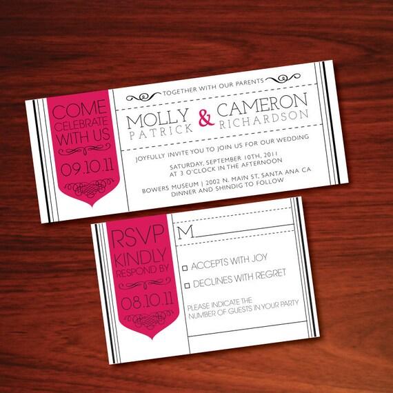 Items Similar To Printable Tea Length Tag Wedding Invitation Duo See Shop A