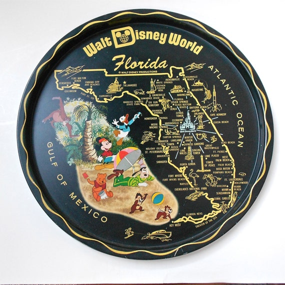Vintage Circa 1970s Walt Disney World Florida Souvenir Tray