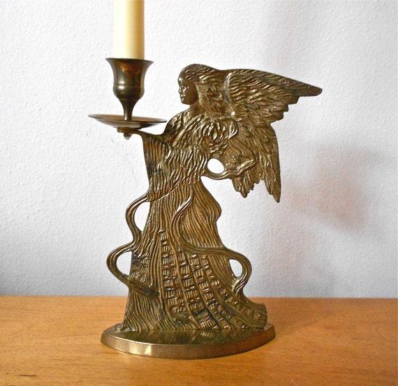 Vintage Brass Angel Candle Holder