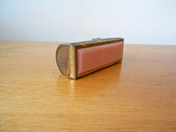 Vintage Brass Lipstick Carrying Case with Pink Ceramic Front and Mirror Circa 1950s