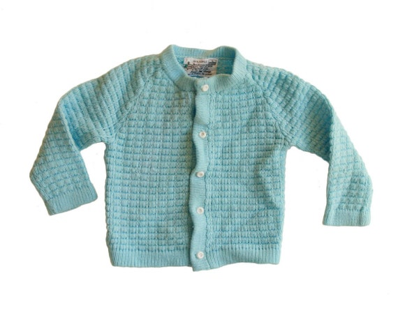 Vintage Baby Boy Sweater Jumper Cable Knit Blue Grandpa Button Up Cardigan