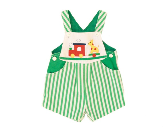 Vintage Baby Romper Jumper Overalls Green White Striped Giraffe Train Onesie 18 Months