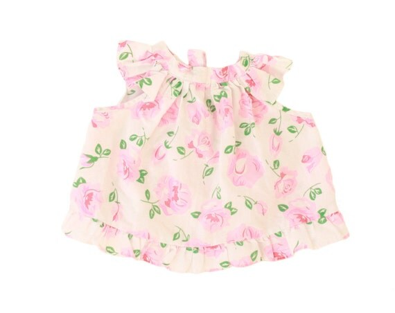 Vintage Baby Girl Blouse Top Pink Green Rose Print Ruffle Tie Back Sun Dress 18 Months