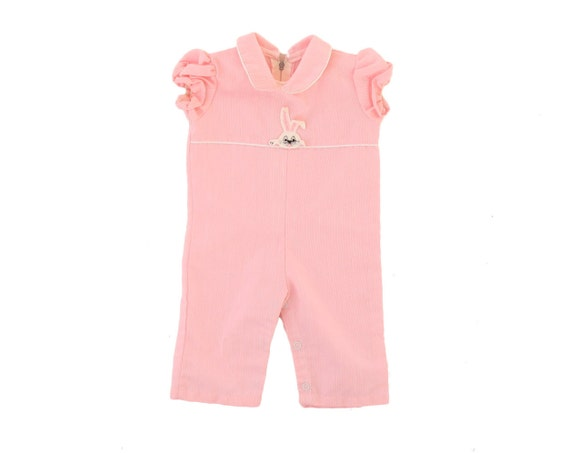 Vintage Baby Girl Jumper Pink Embroidered Bunny Rabbit Romper Outfit 0 to 3 Months