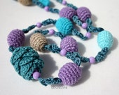 Black Friday Cyber Monday Free shipping Long crochet lariat necklace in violet, teal blue and turquoise Gift for her under 25