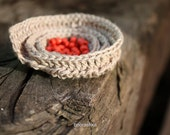 SALE Spiral crochet brooch Nougat linen Coral red glass seed beads Woodland Boho Rustic Ready to ship Stocking stuffer FREE SHIPPING