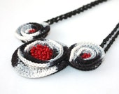 SPRING SALE Geometric Necklace Crochet Spiral Black White Red Grey Gray Gift for her under 50 Fiber Jewelry Geometry Ready to ship oht