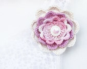 Floral jewelry Corsage brooch Crochet flower Ivory white pink pale lilac purple pastel Gift under 15 Boho Wedding Vintage Ready to ship sale