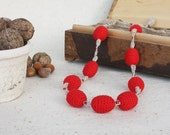 SALE Rustic red chunky necklace Nursing Breastfeeding Babywearing Baby Shower gift for her under 25 Ready to Ship oht