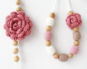 Floral jewelry set: Dusty rose blush pink necklace with flower and matching bracelet Gift for her under 50 Pastel Spring fashion Boho oht