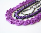 Reserved Stackable jewelry Purple olive green 3 in 1 crochet necklaces Gift for her under 25 Statement necklace Stacking Boho Hippie