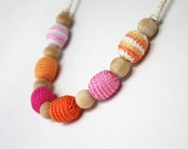 Pink orange crochet necklace Nursing teething jewelry Color block Chunky beads Summer fashion Gift for her under 25 oht