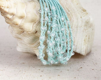 Mint blue linen necklace hand crocheted with clear glass beads Spring Summer jewelry Boho chic