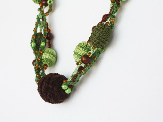 SPRING SALE Chunky crochet necklace Olive green chocolate brown Gift for her under 25 Stocking stuffer Ready to ship oht