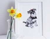 Dog, Miniature schnauzer illustration 8 x 11 wall art print