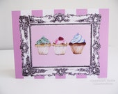 Cupcakes -  food Illustrated greeting card