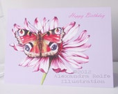 Butterfly on flower illustrated greeting card