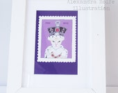 """Queens jubilee princess cat in stamp illustrated 8 x 6"""" wall art print"""