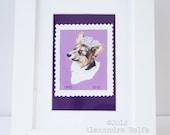 "Queens diamond jubilee corgi in a stamp illustrated 8 x 6"" wall art print"