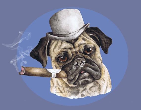 Dog, Pug smoking cigar wearing bowler hat illustration 8 x11 wall art print
