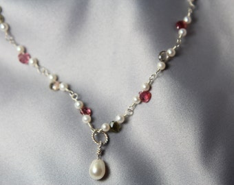 Bridal Gift,  Pearl Necklace, Designer Wedding Pearl & Tourmaline Necklace, OOAK, -  Gift of Pearls