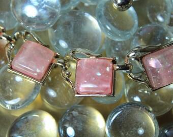 Vintage 1960s Pink Resin & Sparkle Flecks Necklace
