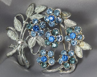 Vintage 1950s Silver & Sapphire Floral Brooch, Designer Jewelry