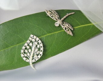 Vintage 1950 Bridal  Crystal Rhinestone Leaf Brooch /Haircomb