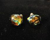 Fall Orange Glass Button Earrings